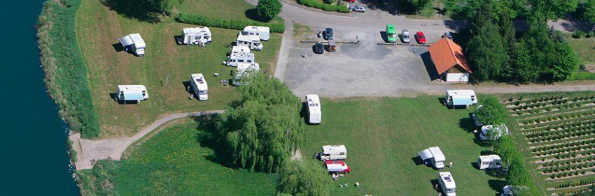 Luftbild vom Wohnmobilstellplatz Weserbergland